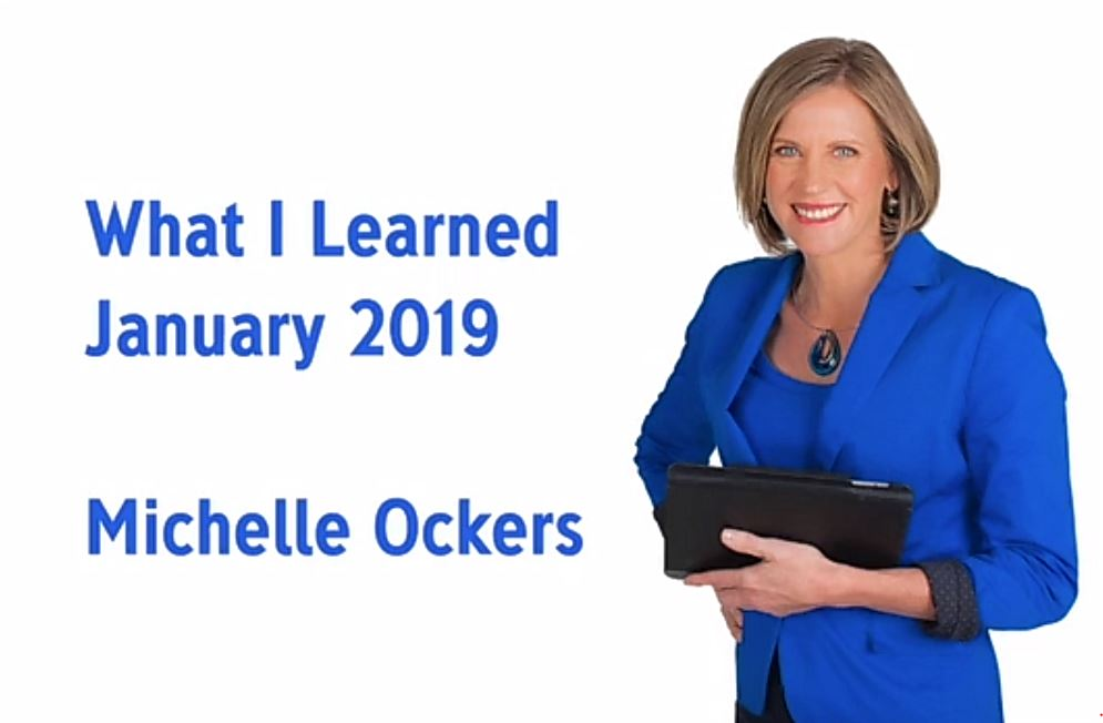 Michelle Ockers What i Learned Jan 2019